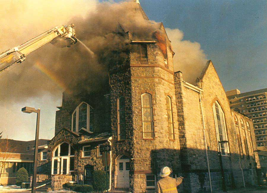 St. Paul's Church on fire