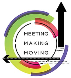 meeting, making, moving logo