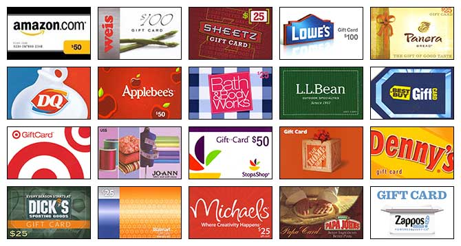 an array of gift cards available through scrip program